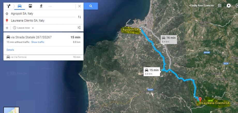 Map Agropoli to Laureana Cilento for 7-d