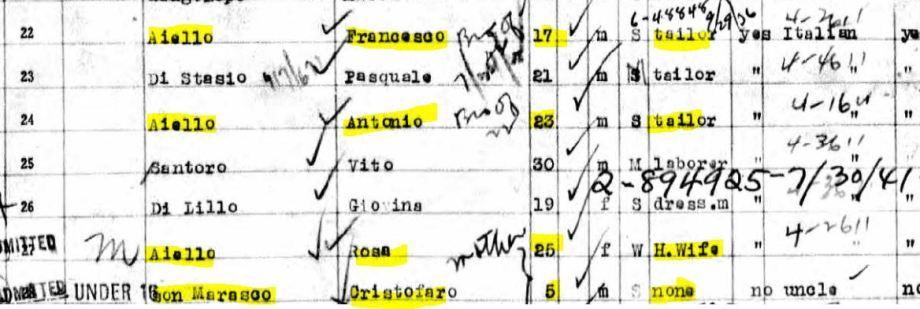 42b-SS America Close-up passenger list Aiellos