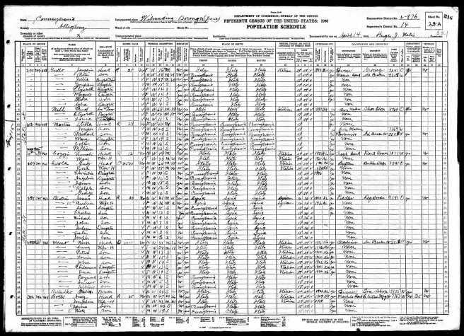 43-1930 Fed Census Muro Family Wilmerding Nick and Rose