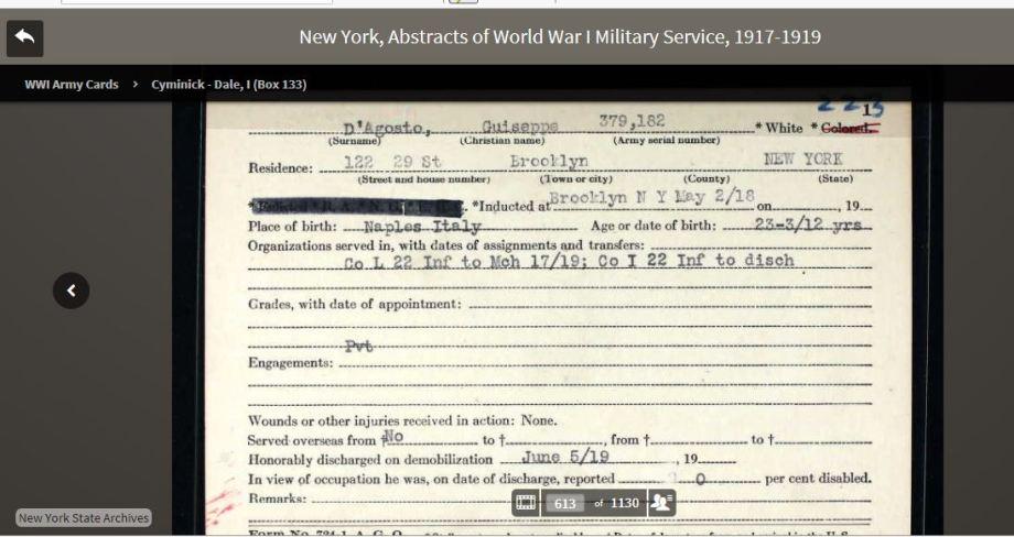 46-aGiuseppe D'Agosto WWI Army Card