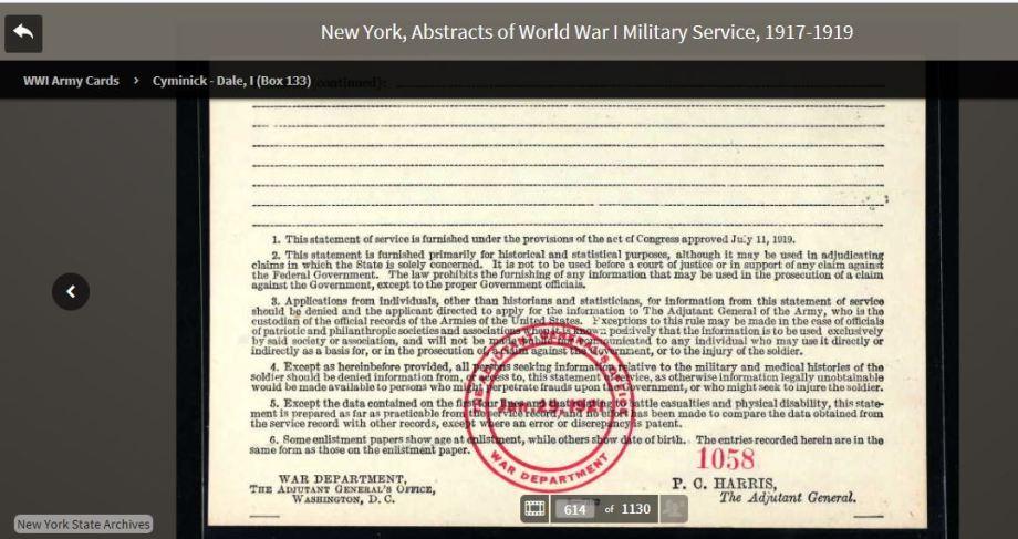 46a-Giuseppe D'Agosto WWI Army Card 2