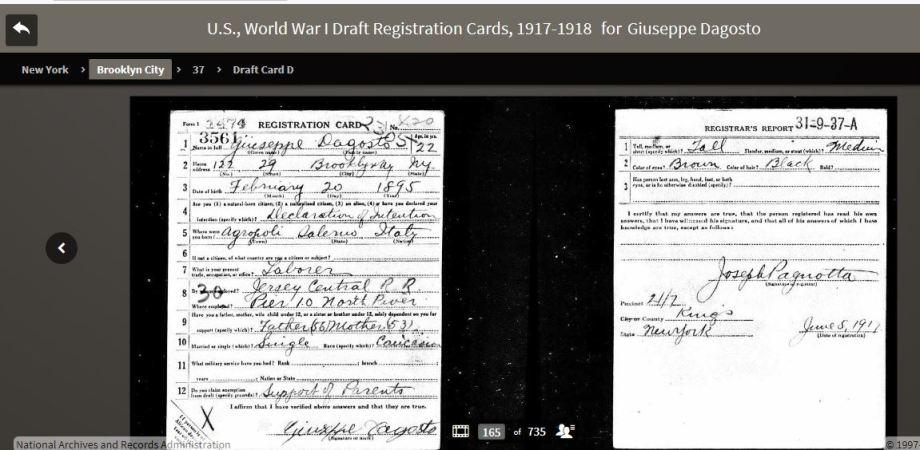 46a-Giuseppe D'Agosto WWI Draft Registration