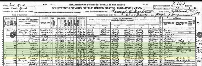 47-1920 Fed Census with Giuseppe D'Agosto