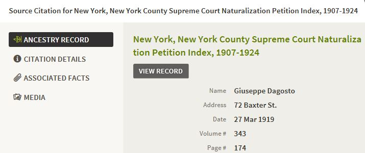 47-Giuseppe D'Agosto in New York-1919 Naturalization Petition Index