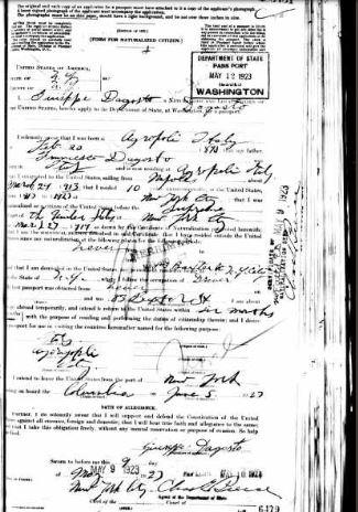 47-Giuseppe D'Agosto in New York-1923 Passport 1