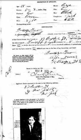 47-Giuseppe D'Agosto in New York-1923 Passport 2