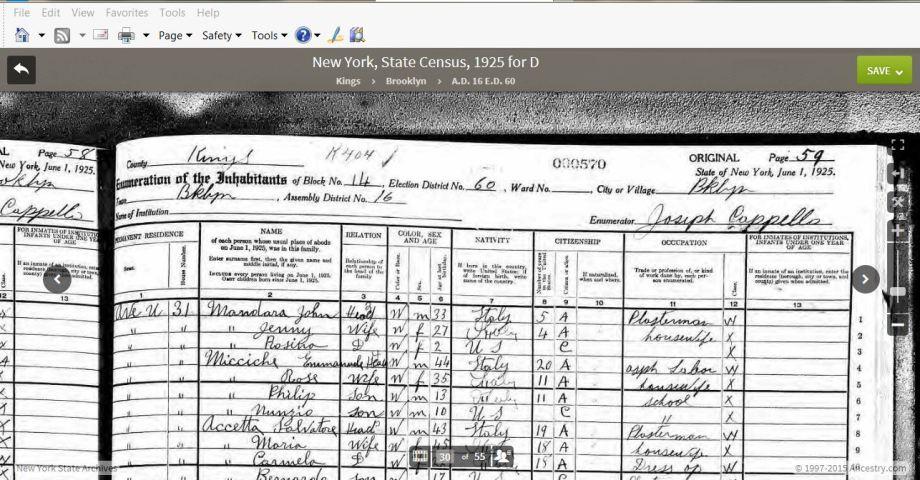48-1925 NYS Census D'Agosto Header