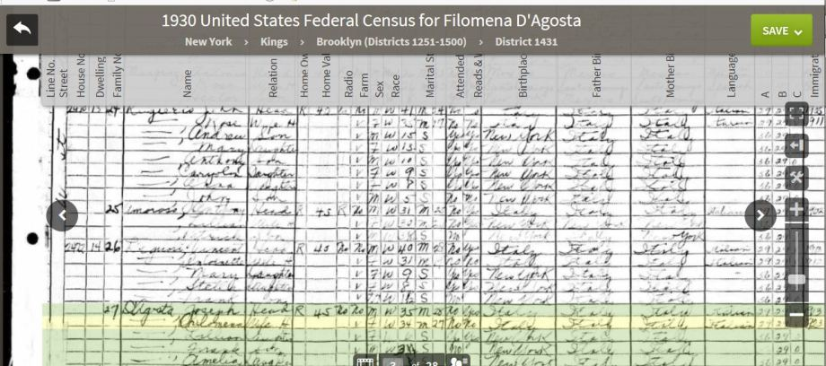 49-1930 Fed Census Entry D'Agosto