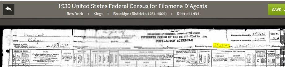 49-1930 Fed Census Header D'Agosto