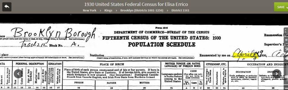 50-1930 Federal Census Header Errico Family