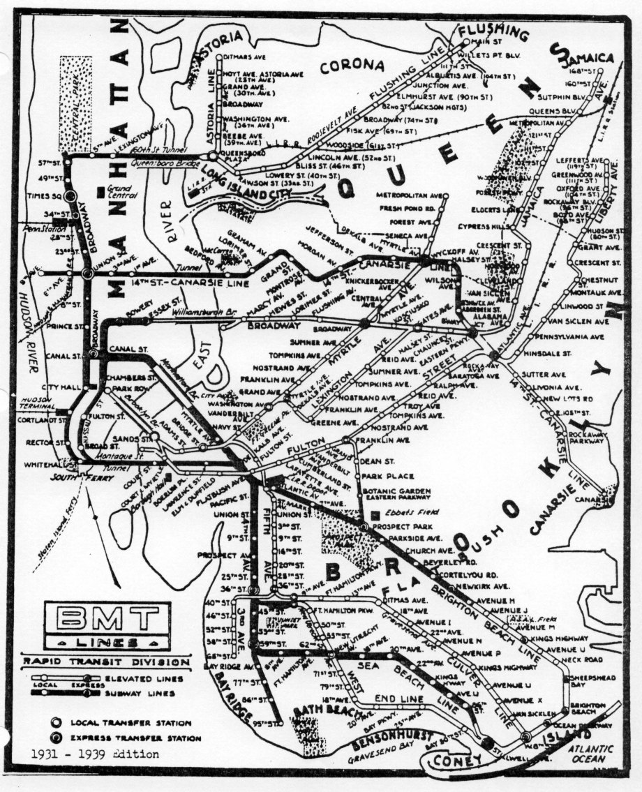 53c-1931 BMT Elevated lines subway map