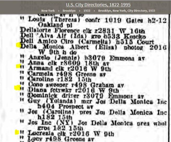 53c-Della Monica Family 1933 Brooklyn Directory