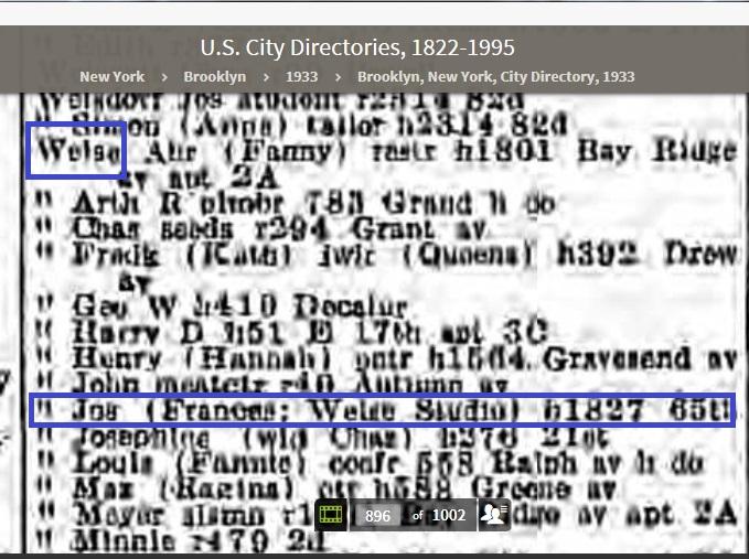 54c-Joseph Weise residential 1933 Brooklyn Phone book