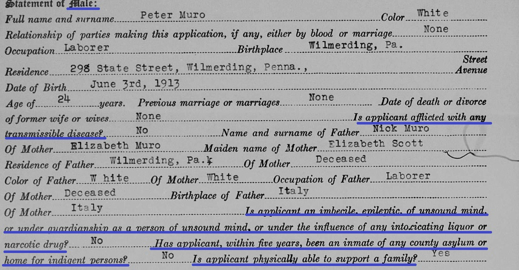 58b-1937 Marriage License-Male